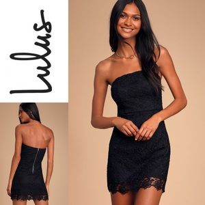 NWT LULU'S Loving Life Lace Strapless BodyconDress